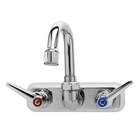 T&S B-1146-01A Wall Mount Workboard Faucet with 4 inch Centers, 5 1/8 inch Gooseneck, Escutcheon, Aerator, and Tailpieces