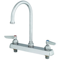 T&S B-1142-04 Deck Mount Workboard Faucet with 8 inch Centers, 11 3/8 inch Gooseneck, Escutcheon, 4 inch Wrist Action Handles, and Tailpieces