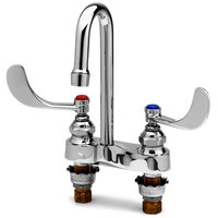 T&S B-0892-CR-LF05 0.5 GPM Deck Mount Centerset Mixing Faucet with 4 inch Centers, 10 7/16 inch Gooseneck, 4 inch Wrist Action Handles, and Cerama Cartridges