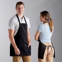 Choice Black Poly-Cotton Bib Apron with 3 Pockets - 25 inchL x 28 inchW