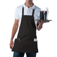 Choice Black Full Length Bib Apron with Pockets - 25 inchL x 28 inchW