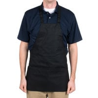 Choice Black Full Length Bib Apron with Pockets - 25 inchL x 30 inchW