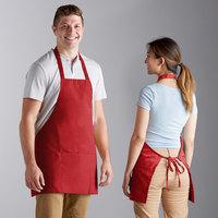 Choice Red Poly-Cotton Bib Apron with 3 Pockets - 25 inchL x 28 inchW