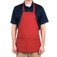 Choice Red Full Length Bib Apron with Pockets - 25 inchL x 30 inchW