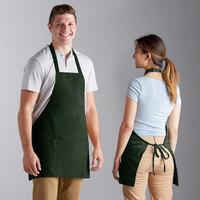 Choice Hunter Green Poly-Cotton Bib Apron with 3 Pockets - 25 inchL x 28 inchW