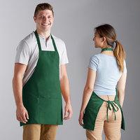 Choice Kelly Green Poly-Cotton Bib Apron with 3 Pockets - 25 inchL x 28 inchW