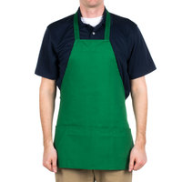 Choice Kelly Green Full Length Bib Apron with Pockets - 25 inchL x 30 inchW