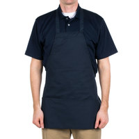 Choice Navy Full Length Bib Apron with Pockets - 25 inchL x 30 inchW