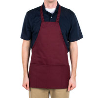 Choice Burgundy Full Length Bib Apron with Pockets - 25 inchL x 30 inchW