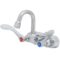 T&S B-1115-131X-WH4 Wall Mount Workboard Faucet with 4 inch Centers, 5 1/8 inch High Gooseneck, and 4 inch Wrist Action Handles
