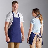 Choice Royal Blue Mid Length Bib Apron with Pockets - 25 inchL x 28 inchW