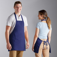 Choice Royal Blue Poly-Cotton Bib Apron with 3 Pockets - 25 inchL x 28 inchW