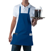 Choice Royal Blue Full Length Bib Apron with Pockets - 25 inchL x 28 inchW