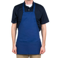 Choice Royal Blue Full Length Bib Apron with Pockets - 25 inchL x 30 inchW