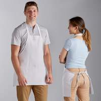 Choice White Poly-Cotton Bib Apron with 3 Pockets - 25 inchL x 28 inchW