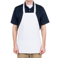 Choice White Full Length Bib Apron with Pockets- 25 inchL x 30 inchW