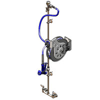 T&S B-1437 35' Open Hose Reel with 8 inch Centers, Front Trigger Water Gun, Control Valve, Check Valves, and Vacuum Breaker