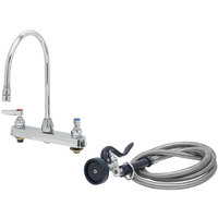 T&S B-1172-96-135X Deck Mount Workboard Faucet with 8 inch Centers, 13 3/4 inch Gooseneck, 96 inch Hose, and EB-0107 Spray Valve