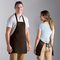 Choice Brown Poly-Cotton Bib Apron with 3 Pockets - 25 inchL x 28 inchW