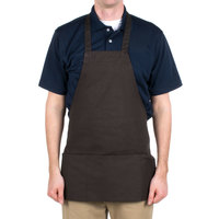 Choice Brown Full Length Bib Apron with Pockets- 25 inchL x 30 inchW