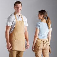 Choice Khaki / Beige Mid Length Bib Apron with Pockets - 25 inchL x 28 inchW