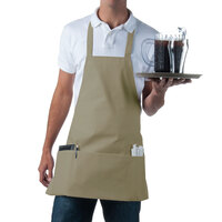 Choice Khaki Full Length Bib Apron with Pockets - 25 inchL x 28 inchW