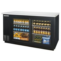 Beverage Air BB58GSF-1-B-LED 58 inch Black Food Rated Sliding Glass Door Back Bar Cooler with Two Doors