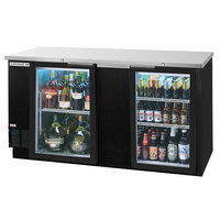 Beverage-Air BB68GF-1-B-LED 68 inch Black Food Rated Glass Door Back Bar Cooler with Two Doors