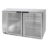 Beverage Air BB58GF-1-S-LED 58 inch Stainless Steel Food Rated Glass Door Back Bar Cooler with Two Doors
