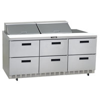 Delfield UCD4472N-24M 72 inch 6 Drawer Mega Top Reduced Height Refrigerated Sandwich Prep Table