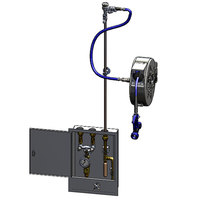 T&S B-2339-02 30' Enclosed Hose Reel and Control Cabinet with Rear Trigger Water Gun, Check Valves, Thermometer, Water Hammer Arrestor, and Vacuum Breaker