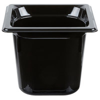 Vollrath 9066420 1/6 Size Black High Heat Food Pan - 6 inch Deep