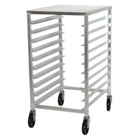Advance Tabco PR10-3ST Half Height Mobile Front Load Bun Pan Rack with Stainless Steel Top - 10 Pan Capacity