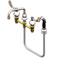 T&S B-2347-10 Easy Install Deck Mount Faucet with 8 inch Centers, 8 inch Swing Nozzle, 4 inch Wrist Action Handles, Eterna Cartridges, and Sidespray
