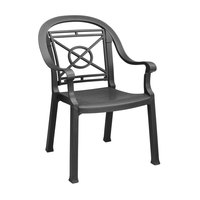 Grosfillex 46214002 / US214002 Victoria Charcoal Classic Stacking Resin Armchair