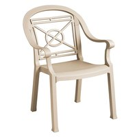 Grosfillex 46214066 / US214066 Victoria Sandstone Classic Stacking Resin Armchair