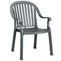 Grosfillex US650002 / US496502 Colombo Charcoal Stacking Resin Armchair