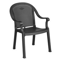 Grosfillex US720002 / 99720002 Sumatra Charcoal Classic Stacking Resin Armchair