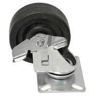 Advance Tabco RA-35 4 inch Swivel Plate Caster with Brake and Built-In Zerk Grease Fitting