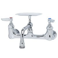 T&S B-2484 Wall Mount Faucet with 8 inch Centers, 6 inch Nozzle, and Soap Dish