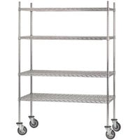 Advance Tabco MC-1860R Chrome Plated Mobile Wire Shelving Unit with Rubber Swivel Casters - 18 inch x 60 inch
