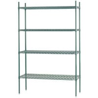Advance Tabco EGG-1842 4-Shelf NSF Green Epoxy Coated Wire Shelving Combo - 18 inch x 42 inch x 74 inch