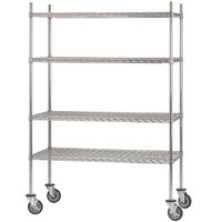 Advance Tabco MC-2460P Chrome Plated Mobile Wire Shelving Unit with Poly Swivel Casters - 24 inch x 60 inch