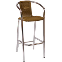 BFM Seating MS51BTN Madrid Outdoor / Indoor Tan Synthetic Wicker and Aluminum Bar Height Arm Chair
