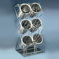 Cal Mil 1025-6-39 Silver 6-Hole Space Saver Wire Silverware Display