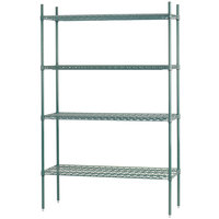 Advance Tabco EGG-1442 4-Shelf NSF Green Epoxy Coated Wire Shelving Combo - 14 inch x 42 inch x 74 inch