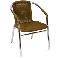 BFM Seating MS21CTN Madrid Outdoor / Indoor Stackable Tan Synthetic Wicker and Aluminum Arm Chair
