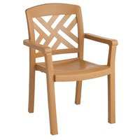 Grosfillex 45451408 / US451408 Sanibel Teakwood Stacking Resin Armchair