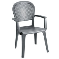 Grosfillex 46105002 / US105002 Seville Charcoal Highback Stacking Resin Armchair