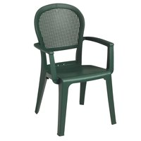 Grosfillex 46105085 / US105085 Seville Metal Green Highback Stacking Resin Armchair